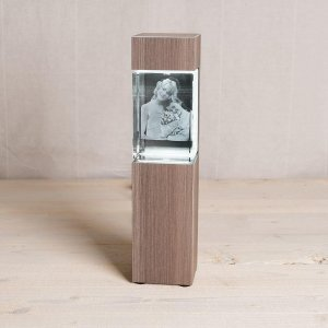 3D Photo Crystal With Wooden Stand