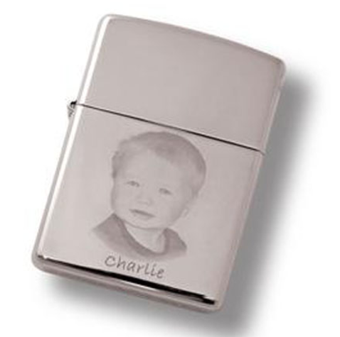 A personalised engraved zippo lighter