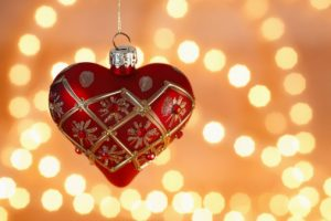 Heart shaped christmas tree ball with chain of lights